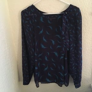 Ann Taylor Loft Blue/Black Blouse-S